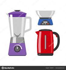 cuisine appareil mélangeur électrique vaisselle isolé vector illustration ustensiles