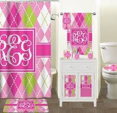 Pink Bathroom Accessories Sets by Pink U0026 Green Argyle Bathroom Accessories Set Personalized