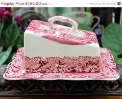 masons vista pink ware cheese keeper antique butter dish