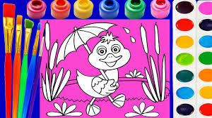 duck coloring page for kids to learn to color and paint youtube