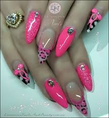 pink nails with pink leopard print trendy fashion jewelry