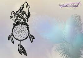 wolf dreamcatcher embroidery design 4 sizes 8 formats embrostitch