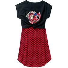 girls u0027 miraculous ladybug popover tie front polka dress walmart com