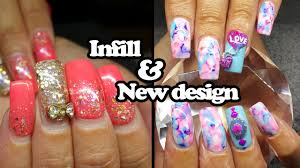 acrylic infill and design change water colour nails youtube
