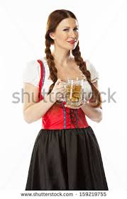 germanbavarian traditional oktoberfest smiling woman stock