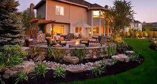 Big Backyard Landscaping Ideas Landscape Sloped Backyard With Hot Tub And Firepit Backyard