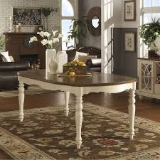shayne country antique two tone white extending dining table by