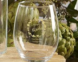 personalized 9 oz stemless wine glass thanksgiving kate aspen