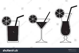 birthday martini white background cocktail glasses isolated on white background stock vector