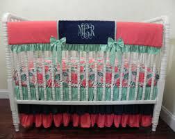 Navy And Coral Crib Bedding Baby Crib Bedding Coral And Navy Crib Bedding Teal Baby