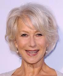 platinum hairstyles for older women helen mirren short straight formal hairstyle light blonde