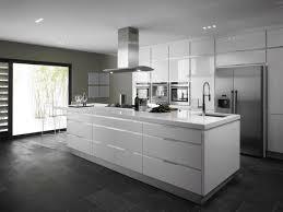 sleek kitchen with stainless sink also glossy ceramic flooring