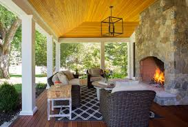 Colonial House With Farmers Porch Cool Outside Fireplace Vogue Boston Farmhouse Porch Inspiration