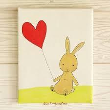 chambre lapin tableau enfant bébé lapin coeurs déco murale chambre d enfant