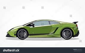 cartoon lamborghini detailed side flat green sports car stock vector 487564417