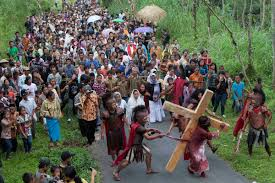 vilagers take part in an easter passion play re enacting the