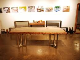 Oak Slab Table by Hand Made Live Oak Slab Table Stainless Steel Frame By Sarabi
