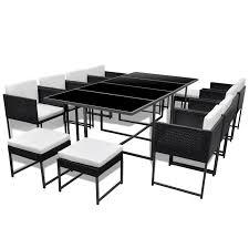 vidaxl 33 piece outdoor dining set black poly rattan vidaxl com