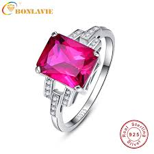 ruby stone rings images Bonlavie emerald cut square ring design vintage garnet ruby red jpg