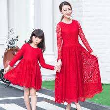2016 fashion lace dresses clothes family look