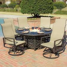 Sling Back Patio Dining Sets - acadia 7 piece sling patio fire pit dining set with swivel rockers
