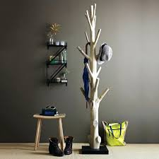 diy free standing coat rack tree with trunk wood material and