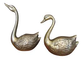 vintage brass swan figurines a pair chairish