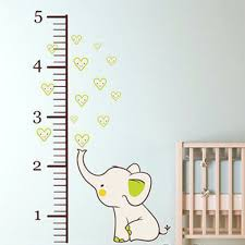 Elephant Wall Decal For Nursery by Elephant Growth Chart Printed Fabric Repositionable Wall Decal