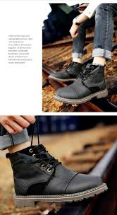 comfortable motorcycle shoes winter men boots warm genuine leather retro boots with fur