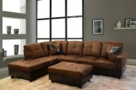 gold brown velvet and dark brown leather sectional sleeper sofa
