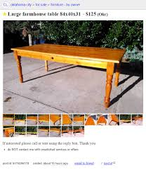 Craigslist Table Craigslist Large Farm Table U2014 Small Farm Price Okc