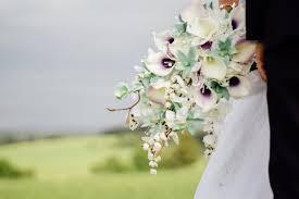Cascading Bouquet Calla Lily Orchid Cascading Bouquet Mint Lavender Purple Bridal