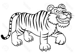 tiger outline drawing tiger without stripes coloring page free