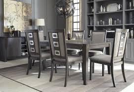 gray rectangular extendable dining room set