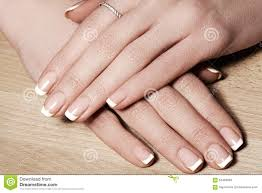 nails with perfect french manicure care for female hands stock