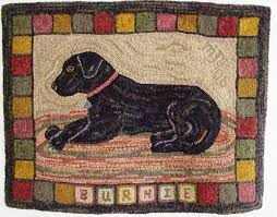 Primitive Hooked Rugs Rug Hooking Pattern Burnie The Labrador 24 X 32 J630 Hooked