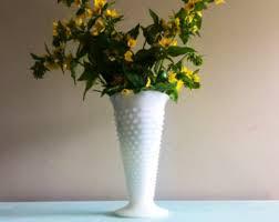 White Glass Vase Vintage Vintage Fenton Hobnail Milk Glass Vase Medium Size White