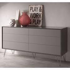commode design chambre commode design 6 tiroirs alborg gris mat achat vente commode de