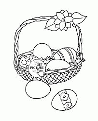 six easter eggs in the basket coloring page for kids holidays