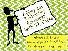 adding and subtracting polynomials with qr codes a apr a 1 by tina