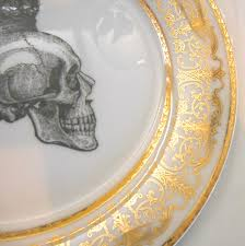 thanksgiving dishware 3 piece gold skull steampunk dinnerware plate set soup