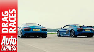 audi a8 v10 plus audi r8 v10 vs v10 plus drag race how much difference does 69bhp
