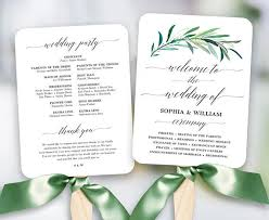 wedding fan program template greenery wedding fan program printable wedding fan program