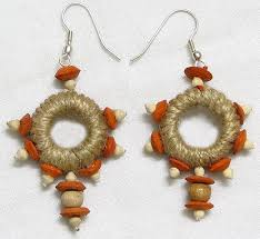 jute earrings jute earrings with white and orange wooden