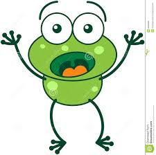 green frog looking surprised and scared stock vector image 48398680