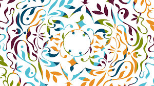 beautiful colored animation with rotating floral decorative