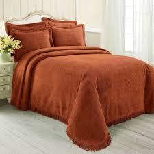 100 cotton chenille classy bedspread orange spice color twin full