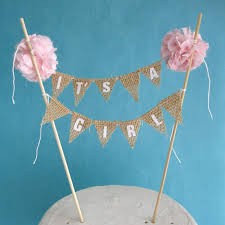 baby shower cake toppers girl cake topper burlap baby shower baby banner it s a girl h044