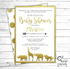 jungle baby shower invite gold safari baby shower invitation by csquareddesignco on etsy