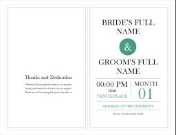 wedding bulletin template wedding program template office templates